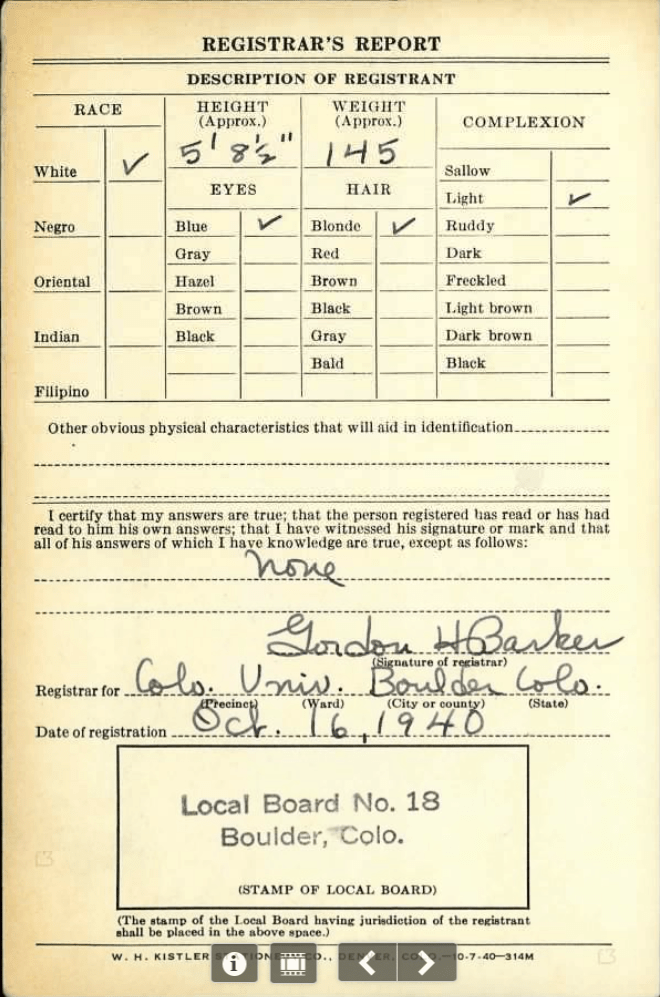 A color scan of the draft card for W R Allen