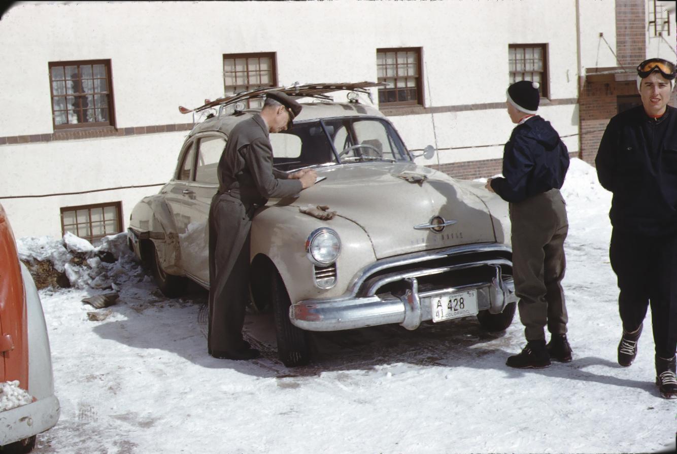Color photo of Jon Allen and Fabyan Watrous, Climax Colorado, circa 1953.