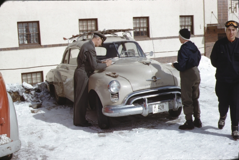 Color photo of Jon Allen and Fabyan Watrous, Climax Colorado, circa 1953.