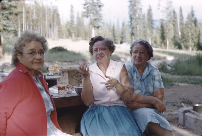 Color photo of Petee Lapin with her two younger sisters.