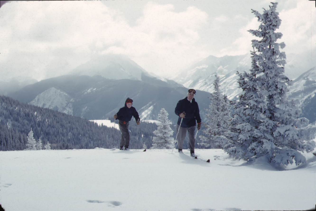 Vintage photo of a young man and adult woman on skis at Climax ski area, Climax Colorado